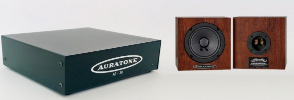 Auratone A2-30 Amplifier with Custom Wood Grain 5C Monitor Speakers